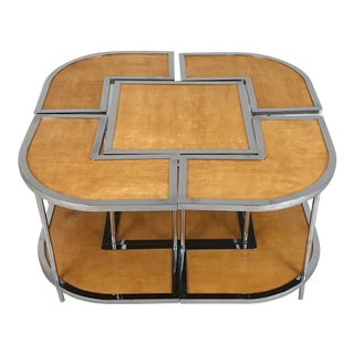 1950s Italian Mid-Century Modern Versatile Parchment and Chrome Nesting Tables - 5 Pieces