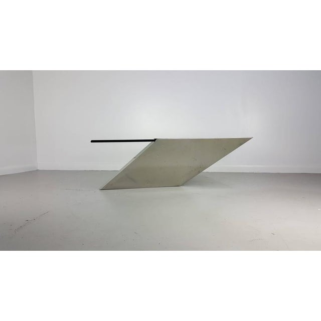 Cantilevered SMT coffee table in stainless steel and glass J. Wade Beam for Brueton, circa 1990. Incredible architectural...