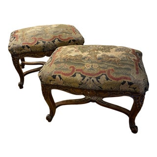 French Louis XVI Tapestry Footstool For Sale