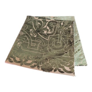 19th Century Silk Velvet Gaufrage Green Throw For Sale