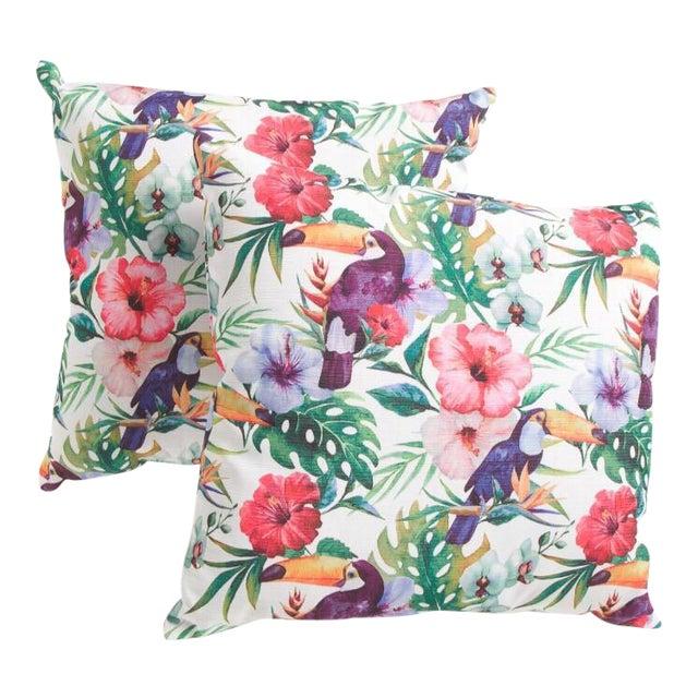 Watercolor Parrots & Palms Pillow - A Pair - Image 1 of 3