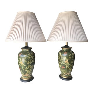 Frederick Cooper Hand Painted Butterfly and Flower Lamps-Pair For Sale