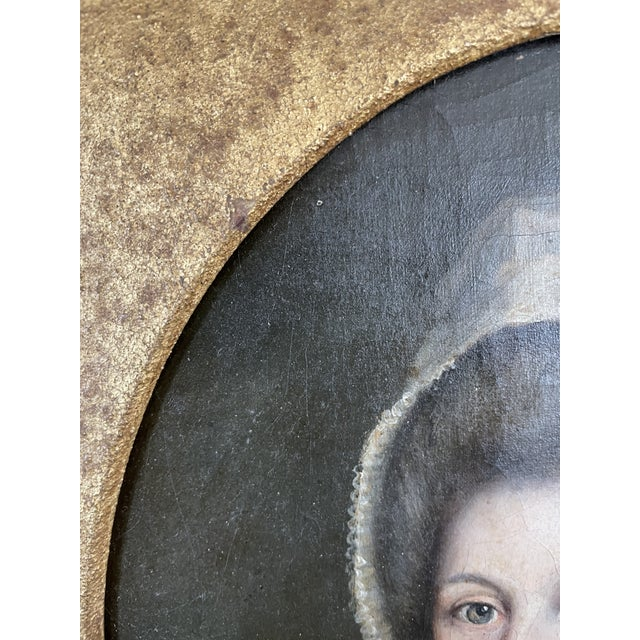 Canvas Late 18th Century English Portrait of a Lady Oil Painting Attributed to John Russell, Framed For Sale - Image 7 of 13