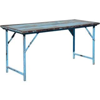 Vintage Blue Wood & Steel Folding Table For Sale