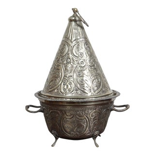 Moroccan Silver Dish Tajine With Cover For Sale