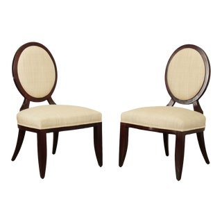 Baker Barbara Barry Oval X-Back Pair Side Chairs For Sale