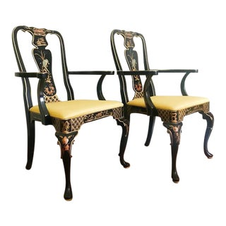 Hand Painted Chinoiserie Chairs - A Pair