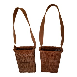 Vintage Wood Bottom, Canvas Strap Wicker Baskets - a Pair For Sale