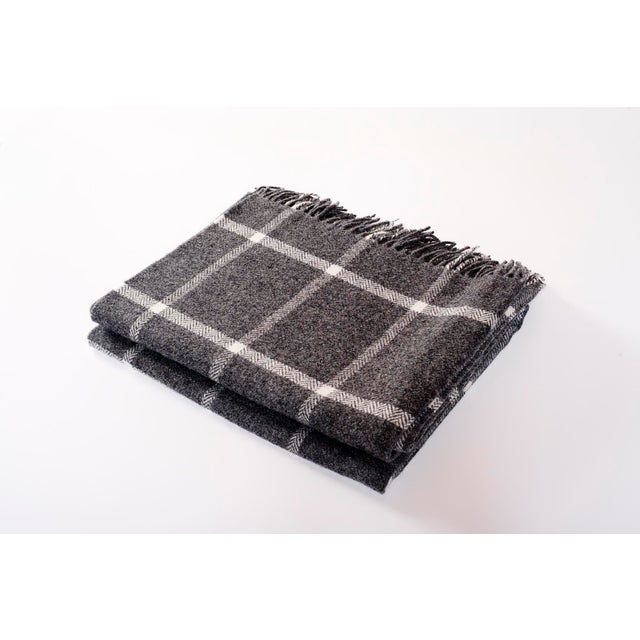 Contemporary Windowpane Grey Throw For Sale - Image 4 of 4