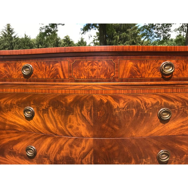 Burled Walnut Bow Front Dresser by John Widdicomb For Sale - Image 6 of 13
