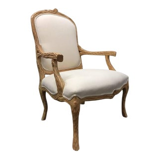 Carved French Country Armchair For Sale