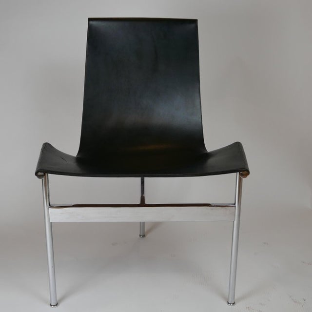 """Mid 20th Century Set of 6 1952 Katavolos Kelley & Littell for Laverne """"T"""" Chairs in Black Leather For Sale - Image 5 of 13"""