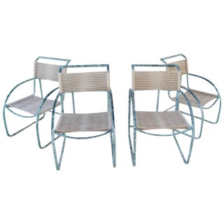 Kipp Stewart Style Patinated Aluminium Roped Outdoor Chairs - Set of 4 For Sale