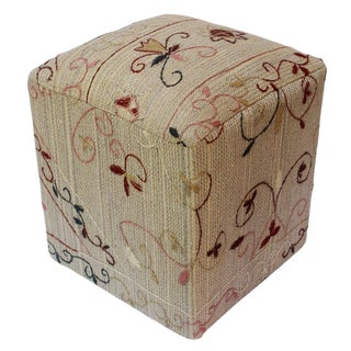 Cynthia Gray/Tan Kilim Hand Embroidered Upholstered Ottoman For Sale