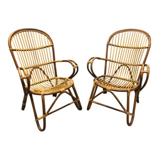 Rattan/Wicker Armchairs - a Pair For Sale
