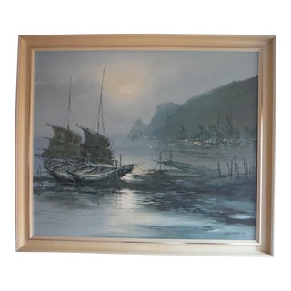 """Moored Oriental Boat"" Original Oil on Canvas"