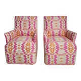 Image of 1920s Bright Geometric Arm Chairs - a Pair For Sale