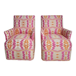 1920s Bright Geometric Arm Chairs - a Pair For Sale