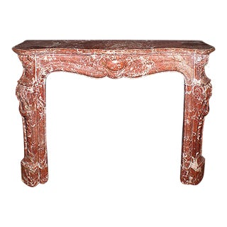 Late 19th Century Louis XV Style Carved Rosso Rubino Marble Fireplace Mantel For Sale