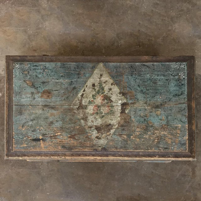 Paint 19th Century Rustic Swedish Painted Trunk For Sale - Image 7 of 13