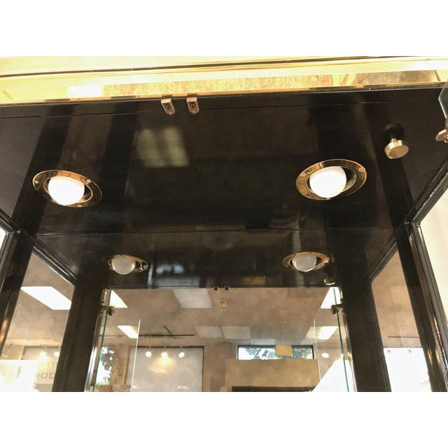 Gold 1970s Mid-Century Modern Mastercraft Towering Brass and Glass Vitrine For Sale - Image 8 of 11