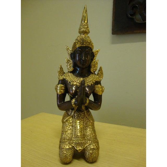 Gilt Bronze Kneeling Thai Princess Figurine - Image 2 of 7