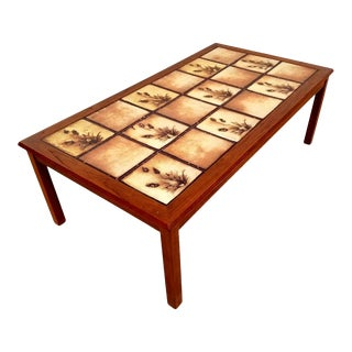 Mid-Century Danish Tile Top Coffee Table For Sale