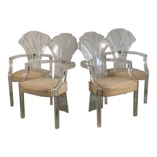 Lucite Art Deco Grotto Shell Back Chairs, Set of 4 For Sale