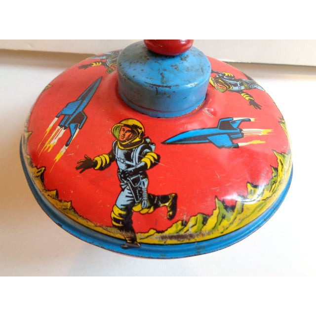 1960s Metal Spinning Top Toy With Space Theme - Image 3 of 5