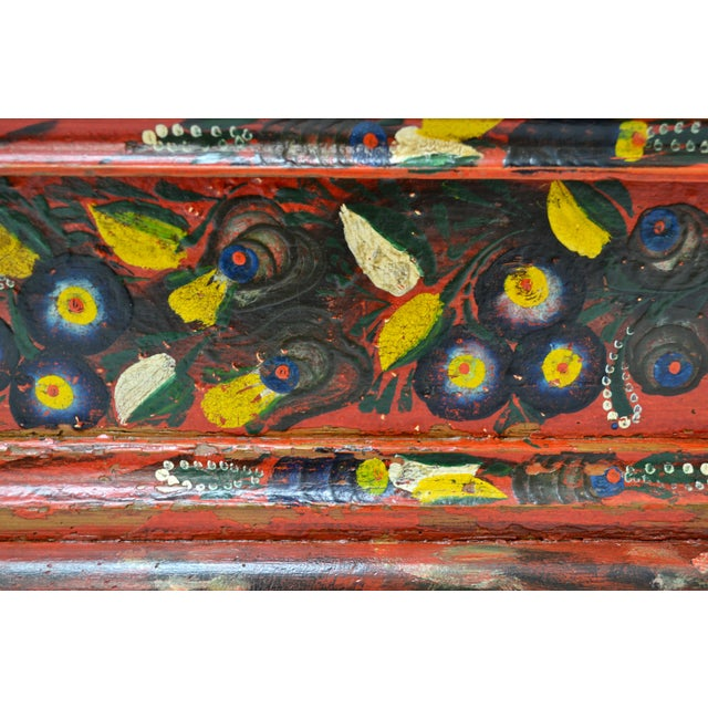 Hungarian Pine Trunk or Blanket Chest in Original Paint For Sale - Image 11 of 13