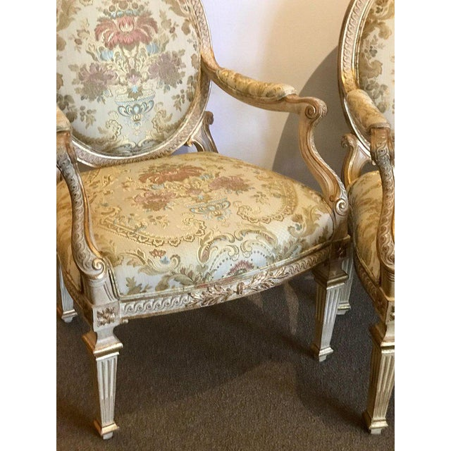 Pair of Louis XVI Style Carved Giltwood Bergère Chairs With Scalamandre Fabric For Sale - Image 9 of 13