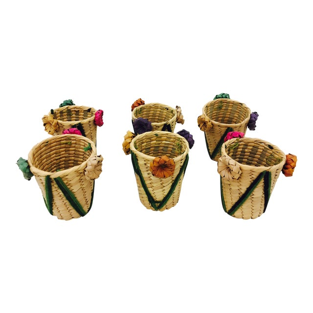 Vintage Woven Grass Cocktail Glass Holders - Set of 6 For Sale