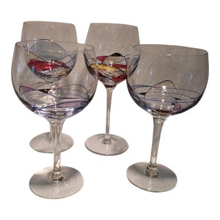 Vintage Red & White Yugoslavian Mosaic Art Wine Glasses - Set of 4 For Sale
