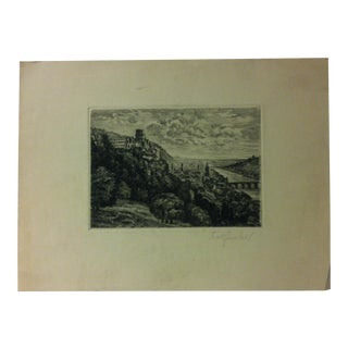 """Original Signed Print on Paper, """"Above the Hillside"""" by Jennifer Gal - Circa 1940 For Sale"""
