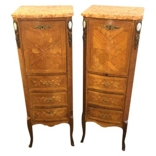 Pair of Louis XV Style Inlaid Secretaries Marble Top For Sale