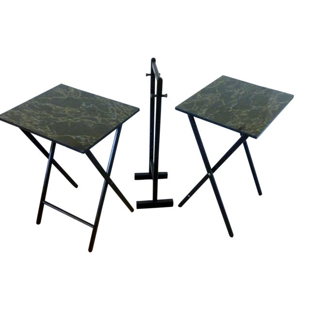 Mid-Century Faux Granite Folding Tables - A Pair - Image 1 of 6