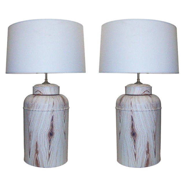 Pair of Tole Faux-Painted Canister Lamps For Sale