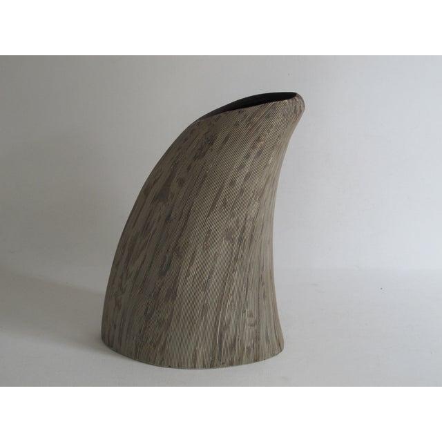 Asymmetrical Sgraffito Line Ceramic Vase - Image 6 of 6