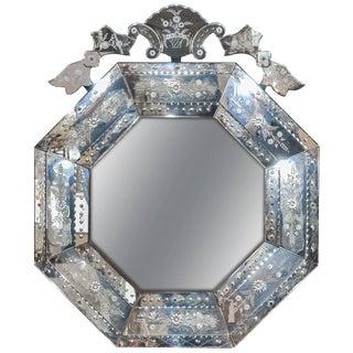 Octagonal Italian Venetian Mirror For Sale