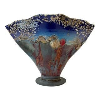 Vintage Multicolored Etched Pottery Vase For Sale