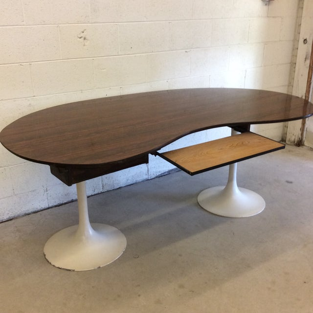 Mid Century Writing Executive Desk With Tulip Base For Sale - Image 11 of 12