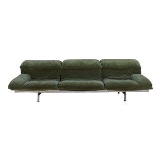 """Vintage Giovanni Offredi """"Wave"""" Green Chenille Sofa by Saporiti For Sale"""