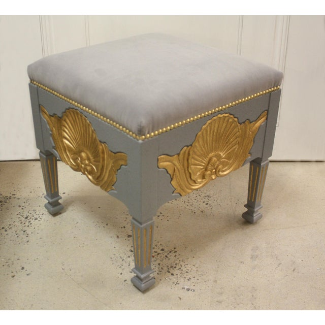 Swedish Square Shell Stool. Shells are hand carved on all four sides. Shells are finished in Italian Gold Leaf. Height:...