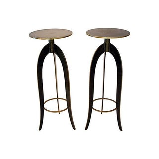 Hand-Forged Brass & Granite Plant Stands - A Pair For Sale