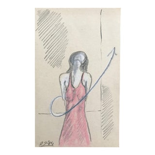 1984 Female Figure Study Pastel Drawing For Sale