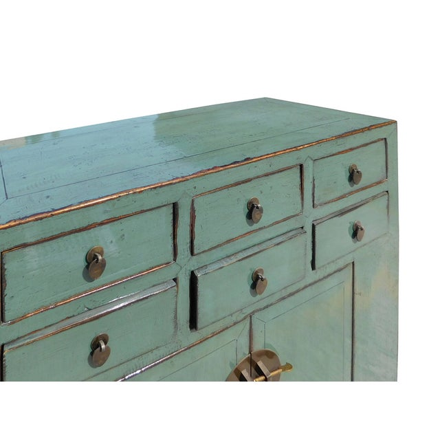 Gray Blue Lacquer 6-Drawer Credenza Cabinet For Sale - Image 4 of 6