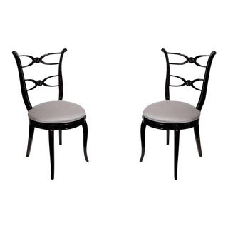 Pair of 1940's Hollywood Lyre Back Occasional Chairs For Sale
