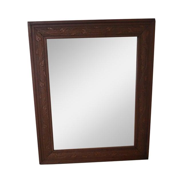 Vintage Incised Carved Vine Leaf Frame Wall Mirror - Image 1 of 10