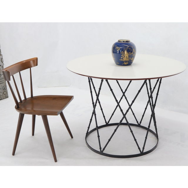 Enameled Top Faux Bamboo Base Mid-Century Modern Dining Dinette Table For Sale - Image 9 of 11