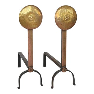 American Hand-Hammered Brass Andirons - A Pair For Sale